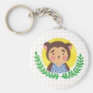 The Cute Monkey Basic Round Button Keychain