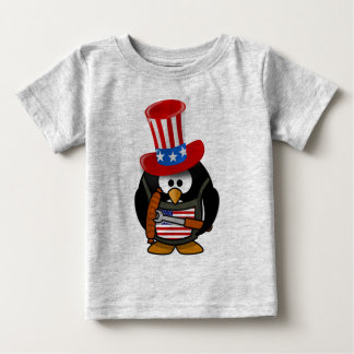 The Cute Patriotic Penguin Enjoying 4th Of July Baby T-Shirt