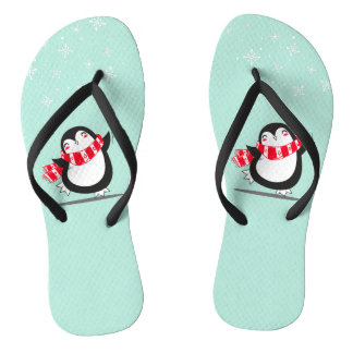 The Cute Penguin Flip Flops