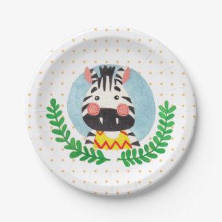 The Cute Zebra 7 Inch Paper Plate