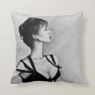 The Dame Original Art Portrait Drawing Pillow