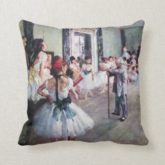 The Dance Class by Edgar Degas, Vintage Ballet Art Throw Pillow