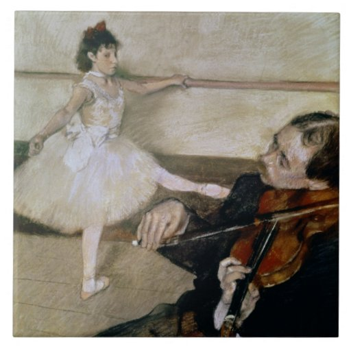 The Dance Lesson, c.1879 (pastel) Tile