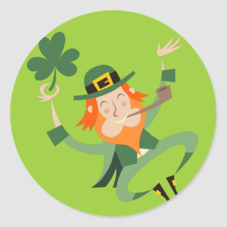 The Dancing Leprechaun Classic Round Sticker