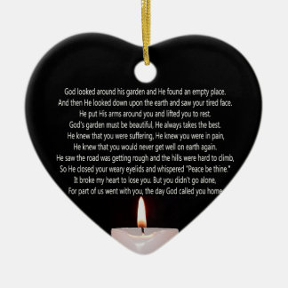 The day God called you home and candle heart shape Ceramic Ornament