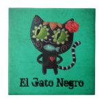 The Day of The Dead Black Cat Ceramic Tiles