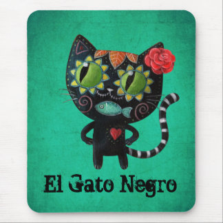 The Day of The Dead Black Cat Mouse Pad