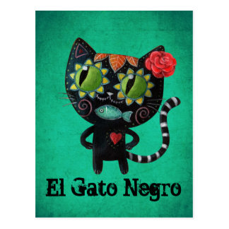 The Day of The Dead Black Cat Postcard