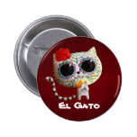 The Day of The Dead Cute Cat 2 Inch Round Button