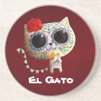 The Day of The Dead Cute Cat Beverage Coasters