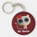 The Day of The Dead Cute Cat Basic Round Button Keychain