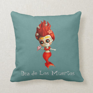 The Day of The Dead Mermaid Throw Pillow