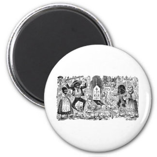 The Day of the Dead, Mexico. Circa early 1900's 2 Inch Round Magnet