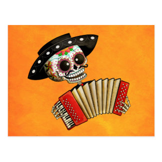 The Day of The Dead Skeleton El Mariachi Postcard