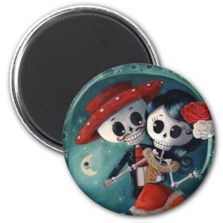 The Day of The Dead Skeleton Lovers 2 Inch Round Magnet