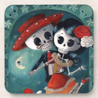 The Day of The Dead Skeleton Lovers Beverage Coasters