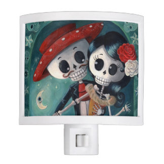 The Day of The Dead Skeleton Lovers Night Lights