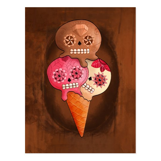 The Day of The Dead Sugar Skulls Ice Cream Postcard