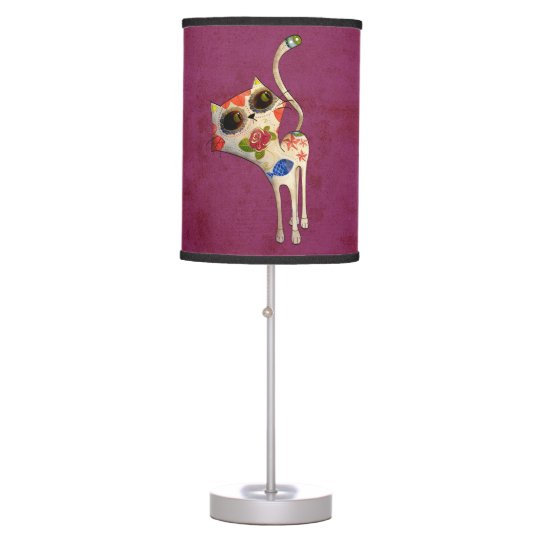 The Day of The Dead White Cute Cat Desk Lamps