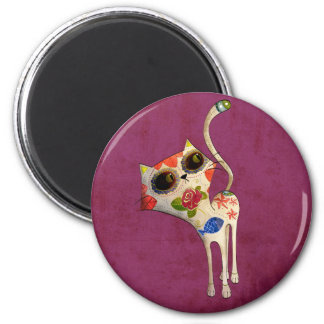 The Day of The Dead White Cute Cat 2 Inch Round Magnet