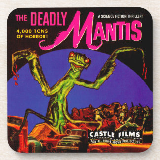 """The Deadly Mantis"" 1950s Movie Film Box Beverage Coaster"