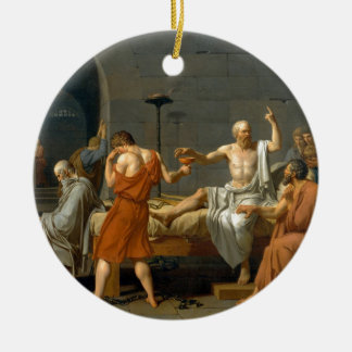 The Death of Socrates by Jacques-Louis David Round Ceramic Ornament