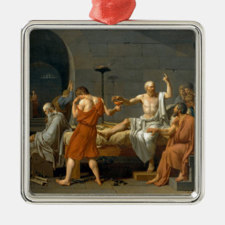 The Death of Socrates by Jacques-Louis David Silver-Colored Square Ornament