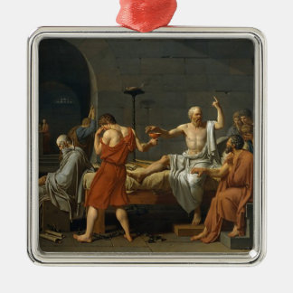 The Death of Socrates Silver-Colored Square Ornament
