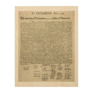 The Declaration Of Independence Document Wood Wall Art