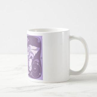 The decorative violet mug design.