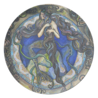 The Deep Blue Sea, A Mermaid - Melamine Plate