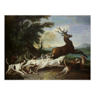 The Deer Hunt, 1718 Poster