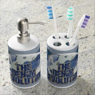 The Denim Revolution Soap Dispenser And Toothbrush Holder