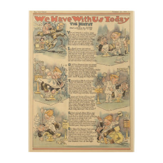 The Dentist, 1919 full page news paper cartoon Wood Print
