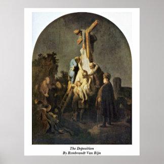 The Deposition By Rembrandt Van Rijn Print