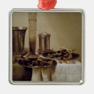 The Dessert, 1637 Silver-Colored Square Ornament