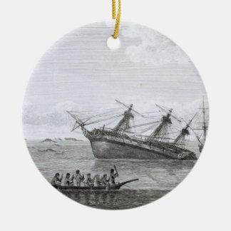 The Discovery on the Rocks in Queen Charlotte's So Round Ceramic Ornament