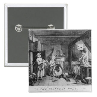 The Distressed Poet, 1740 2 Inch Square Button