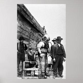 The Diver Vintage Hard Hat Scuba Poster