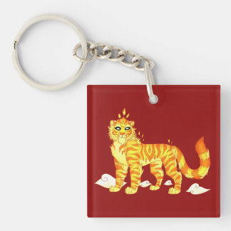 """""""The Divine Fire Tiger"""" Square Keychain"""