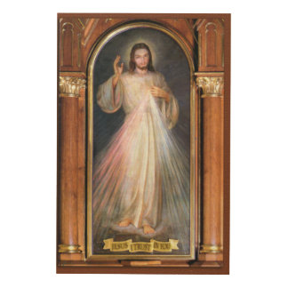 The Divine Mercy Traditional Devotional Image. Wood Print