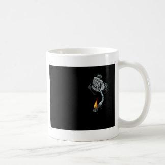 the dj arm on fire coffee mug