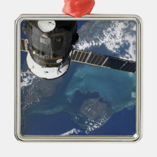 The docked Progress 22 spacecraft Silver-Colored Square Ornament