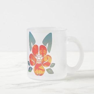The Dog camellia crest Frosted Glass Coffee Mug
