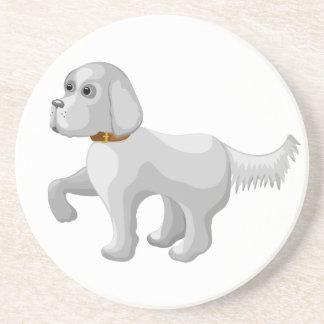 The dog gives paw coaster