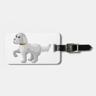 The dog gives paw luggage tag