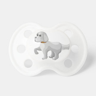 The dog gives paw pacifier