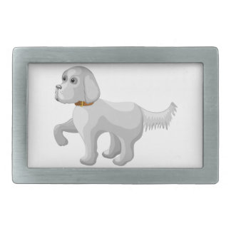The dog gives paw rectangular belt buckle