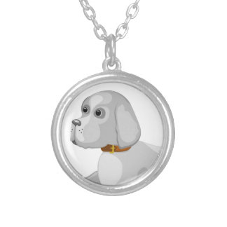 The dog gives paw silver plated necklace