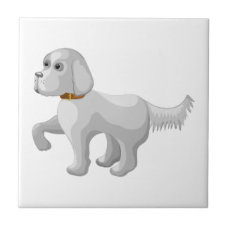 The dog gives paw tile